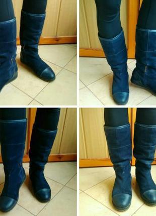Синие женские высокие сапоги ботинки сапожки зима низкий каблук