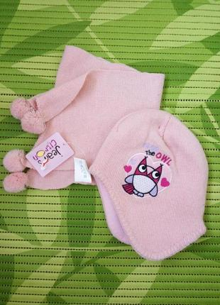 Французский комплект шапочка и шарф jean's citron розовый