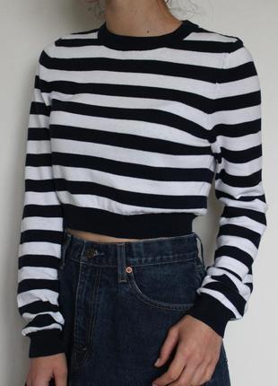 Missguided кофта укороченный свитер в полоску
