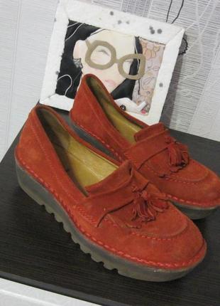 Супер туфли мокасины балетки лоферы замшевые ортопедические fly london 41