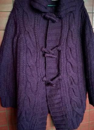 Дизайнерское вязаное пальто от max mara, шерсть100% оверсайз (l)