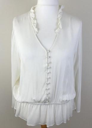 Белоснежная вискозная блузка британского бренда m&s, сезон весна-лето, р. l