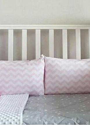 Постельное белье в кроватку (бортики, наволочка, пододеяльник, простынь на резинке)