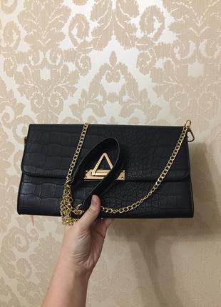 Черный клатч valentino сумка через плечо с цепью сумка цепочка клатч