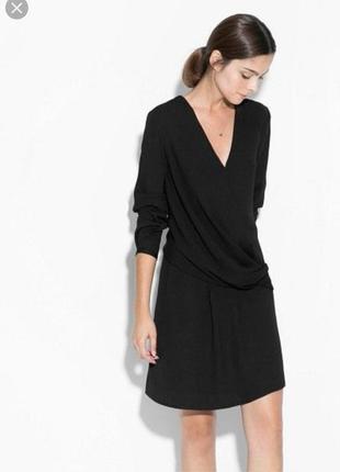 Базовое платье миди с имитацией запаха и длинным рукавом