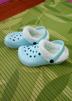 Теплые бирюзовые кроксы со съёмным носочком  / тапочки  lupilu