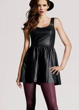 Модное стильное маленькое кожаное черное платье h&m р. 44-46 (38)