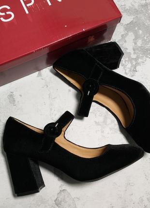 Esprit оригинал бархатные туфли мери джейн на широком каблуке бренд из сша