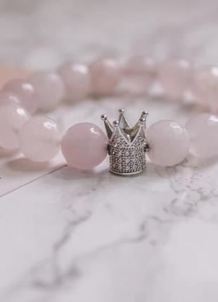 Браслет из натурального розового кварца с короной
