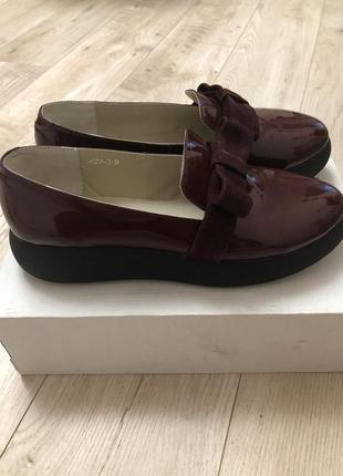 Стильные осень весна туфли марсала размер 39.25.5