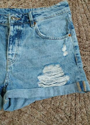 Крутезные джинсовые шорты бойфренд  высокая посадка h&m3 фото