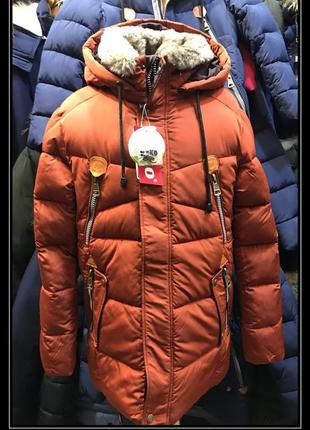 Зимняя куртка для мальчика кико 4630 синяя , олива и  кирпич.зима 2019