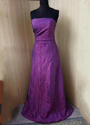 Длинное вечернее  платье бюстье фактурный атлас в пол