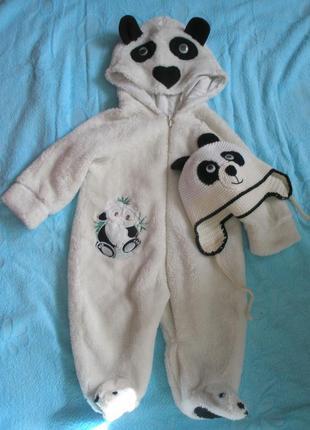 Махровый комбинезон панда 3-6 месяца