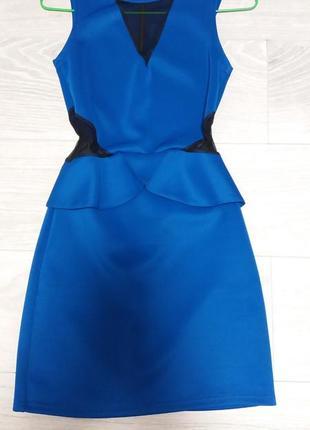 Шикарное синее платье с черными вставками 😍