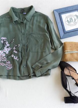 Рубащка хаки с вышивкой h&m