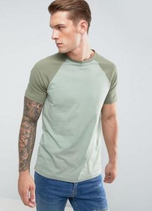 Зеленая футболка с контрастными рукавами реглан asos am9