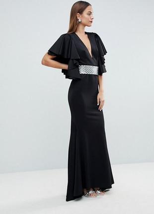 Платье макси с глубоким вырезом, оборками и съемным поясом asos edition