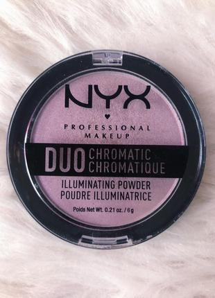 Хайлайтер nyx professional makeup duo chromatic illuminating powder lavender steel