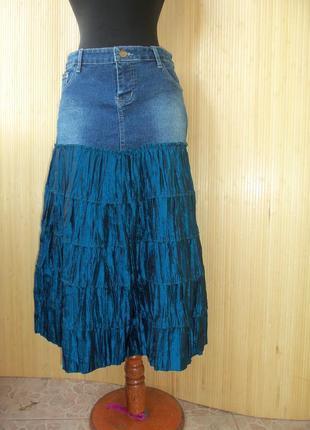 Джинсовая юбка миди с атласной вставкой tally waijl m/l