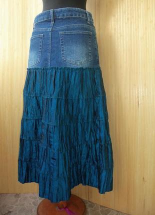 Джинсовая юбка миди с атласной вставкой tally waijl m/l2 фото