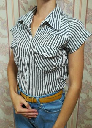 Рубашка в полоску, люрексовая нить