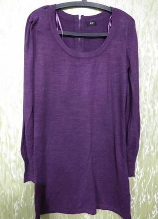 Фиолетовое платье- миди/трикотажное/теплое/f&f