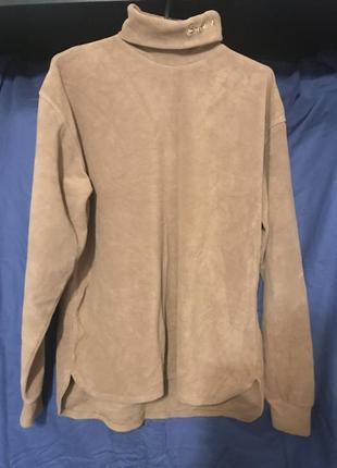 Тёплая флисовая кофта, светло коричневого цвета!