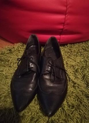Туфли женские деловые черные 37 размер лоферы (натуральная кожа)