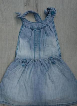 Стильный фирменный хлопковый джинсовый сарафан платье