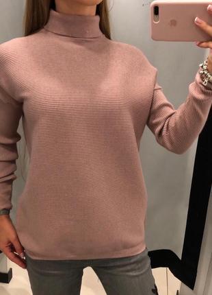 Пудровый свитер с горлышком mohito  свитерок с горлышком гольф xxs-xl