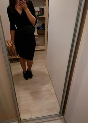 Трикотажное платье-чулок в рубчик миди vila