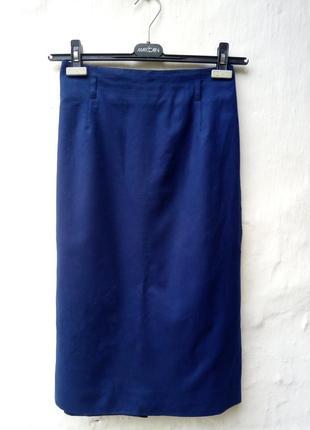Стильная темно синяя юбка карандаш с зади на молнии,шерстяная,классическая,офисная.