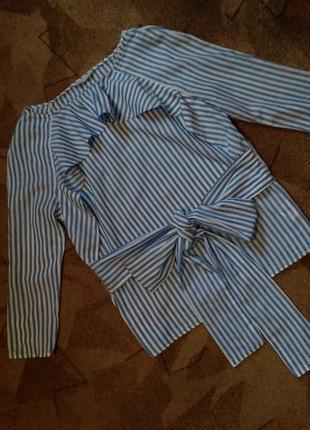 Хлопковая блуза с рюшей и длинными завязками от h&m