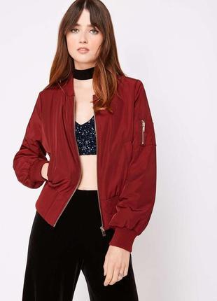 Весенний бомбер винного цвета miss selfridge бордовая куртка на молнии цвета бургунди