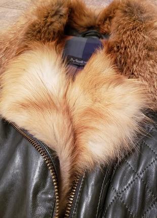 Крутая кожаная куртка с натуральным мехом
