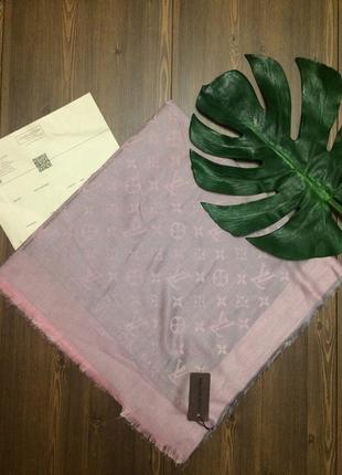 Стильные двусторонние большие платки серый с розовым на скидке!!