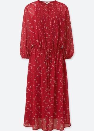 Платье миди красного цвета uniqlo