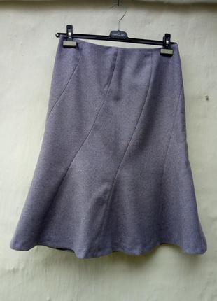 100%шерстяная красивая юбка в елочку годе,стиль шанель,шолк,классическая.