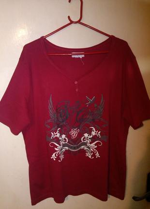 Натуральная,вишнёвая,трикотажная блуза,с модной горловиной,больш.20-22 разм.bonprix