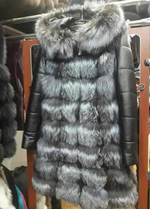 Шуба из меха чернобурки куртка трансформер
