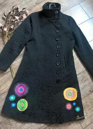 Фееричное фактурное черное деми пальто,тренч/плащ от desigual-по фигуре-m-l3 фото