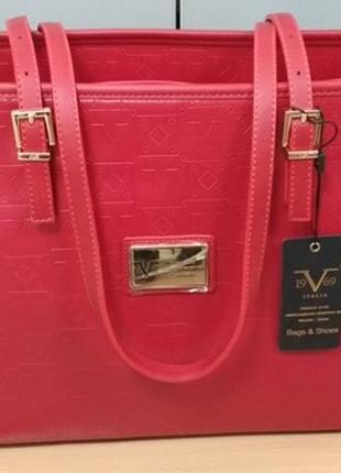 Большая сумка, versace 1969, италия, экокожа, красная