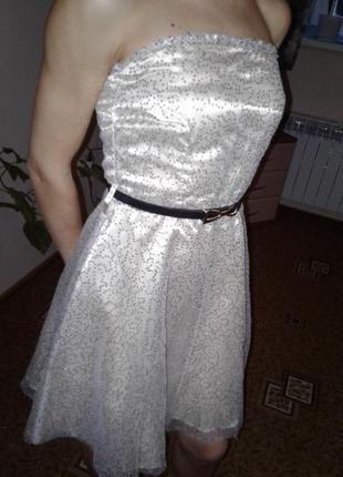 Плаття коктельне xs-s. шампань в паєтках.