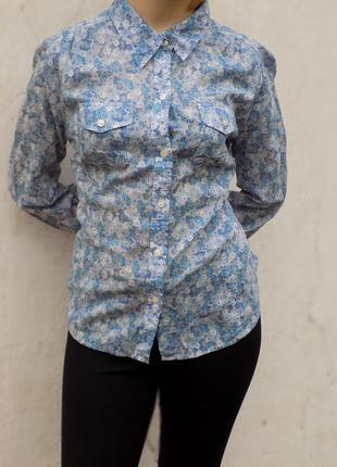 Lucky brand  рубашка ,блуза  в цветочек  из хлопка  95$ америка новая m -  l
