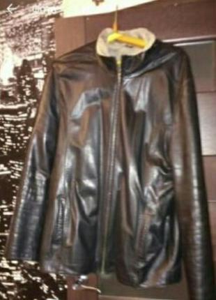 Натуральная мужская фирменная кожаная дубленка куртка мех р.54 турция длина 77