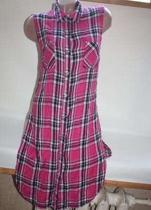 Рубашка фланелевая удлиненная туника с вырезами по бокам в клетку розовая george (к030)