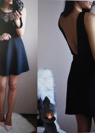 Распродажа летнего! черное мини платье с гипюром/кружевом с открытой спинкой