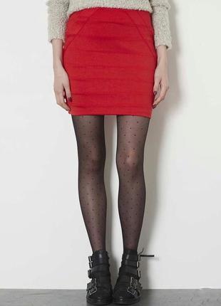 Базовая красная бандажная мини юбка карандаш с замком s/m