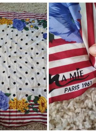 Шикарный шелковый платок, горох, veas ma mie paris1961, р. 84*89